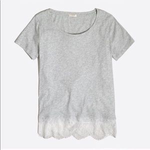 J. Crew | Gray Lace Trim Top